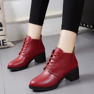 Solid Color Lace-Up High Heel Ankle Boots - RED 37