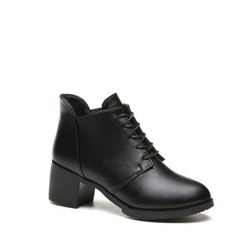 Discount Solid Color Lace-Up High Heel Ankle Boots - 36 BLACK Mobile