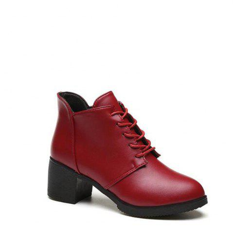 Online Solid Color Lace-Up High Heel Ankle Boots - 38 RED Mobile