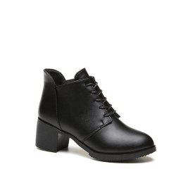 Solid Color Lace-Up High Heel Ankle Boots - BLACK 36