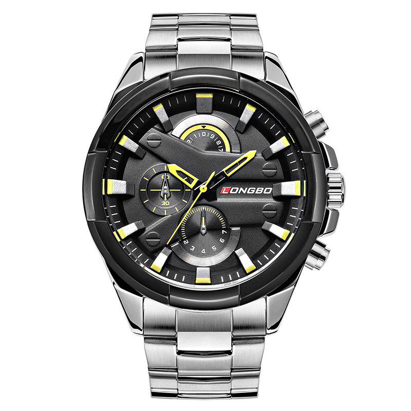 Longbo 80242 4602 4602 Dial Decoration Men Quartz WatchJEWELRY<br><br>Color: SILVER AND BLACK; Brand: Longbo; Watches categories: Men; Watch style: Business,Casual,Fashion,Trends in outdoor sports;