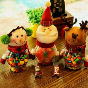 Christmas Snowman Plastic Candy Containers Decorative Candy Bottles Holiday Decorations -