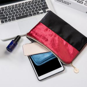 Color Block Velvet Zipper Clutch -