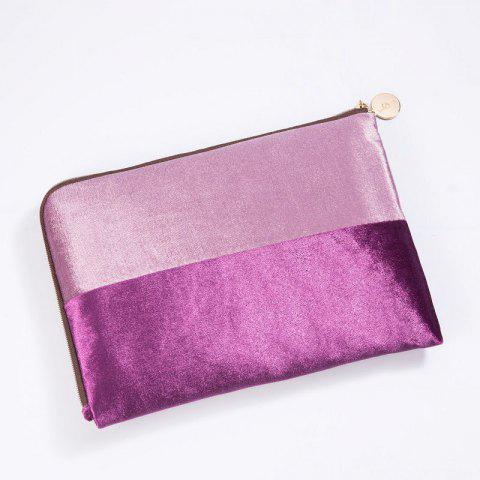 Trendy Color Block Velvet Zipper Clutch - PURPLE  Mobile