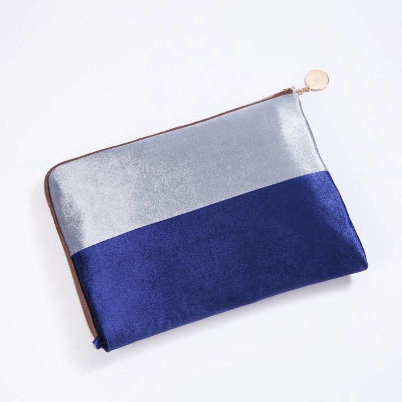 Hot Color Block Velvet Zipper Clutch