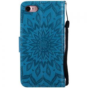 Sun Flower Printing Design Pu Leather Flip Wallet Lanyard Protective Case for Iphone 7 -