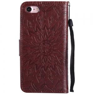 Sun Flower Printing Design Pu Leather Flip Wallet Lanyard Étui de protection pour Iphone 7 -