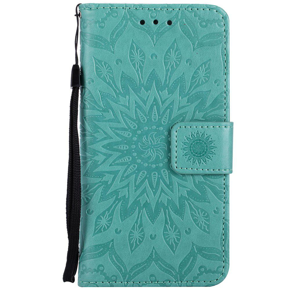 Sun Flower Printing Design Pu Leather Flip Wallet Lanyard Étui de protection pour Iphone 7
