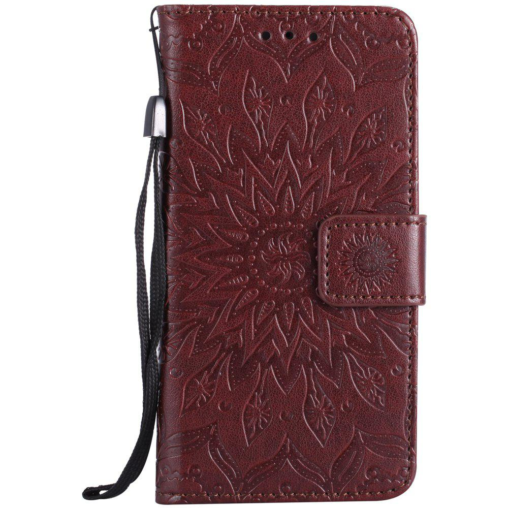 Latest Sun Flower Printing Design Pu Leather Flip Wallet Lanyard Protective Case for Iphone 7