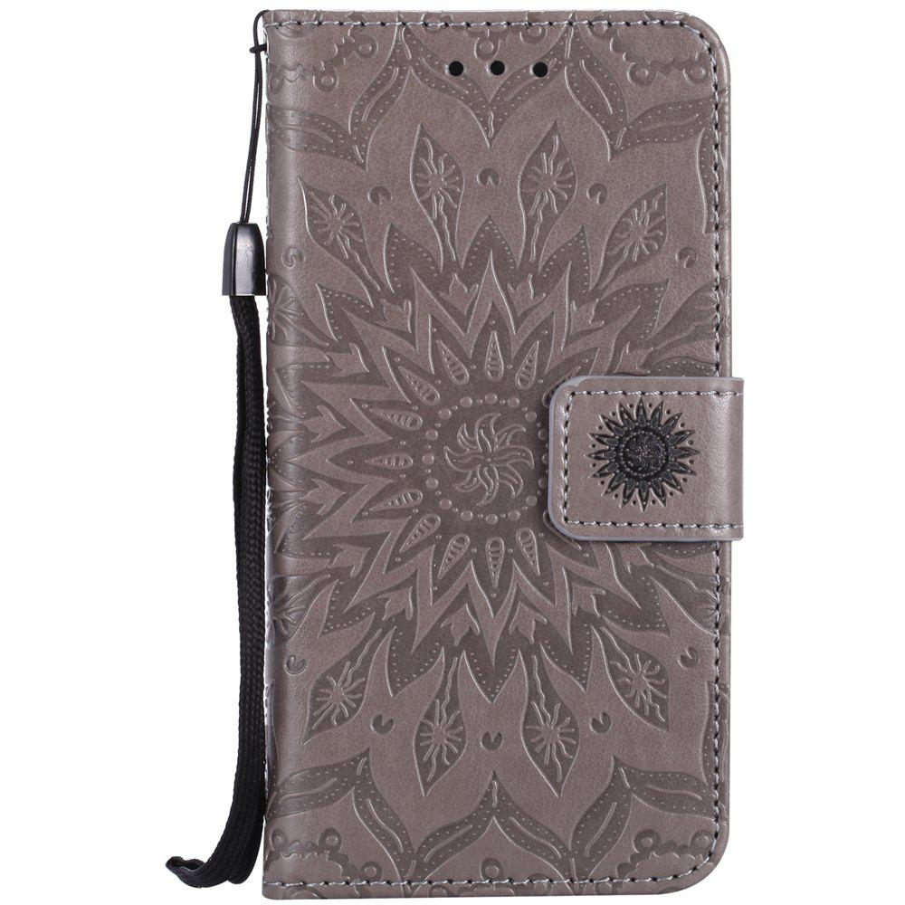 Cheap Sun Flower Printing Design Pu Leather Flip Wallet Lanyard Protective Case for Iphone 7