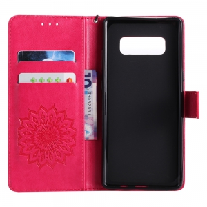 Sun Flower Printing Design Pu Leather Flip Wallet Lanyard Protective Case for Samsung Galaxy Note 8 -