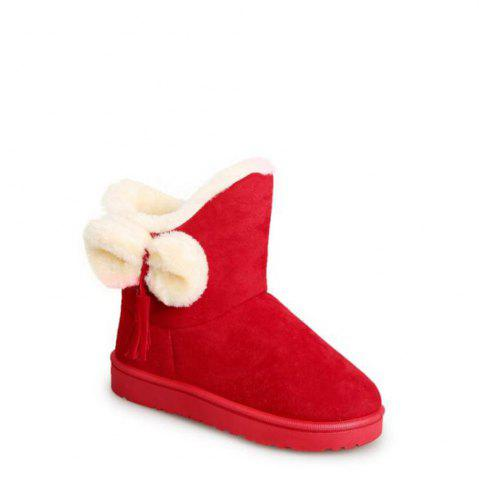 Cheap Solid Color Fuzzy Flat Ankle Snow Boots