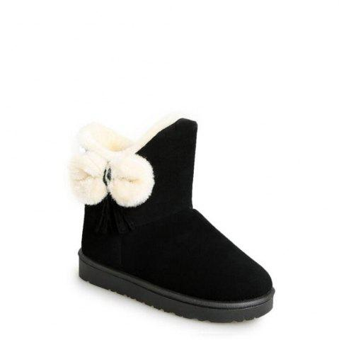 Buy Solid Color Fuzzy Flat Ankle Snow Boots