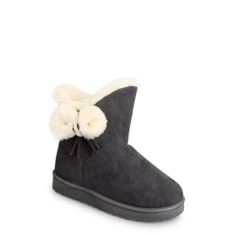 Hot Solid Color Fuzzy Flat Ankle Snow Boots