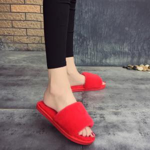 2017 Wool Flat Cotton Slippers - RED 38