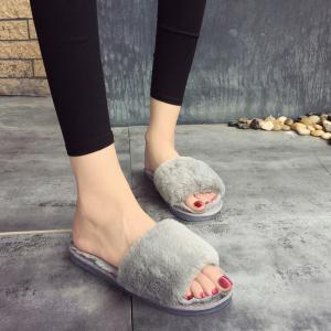 2017 Wool Flat Cotton Slippers - OYSTER 40
