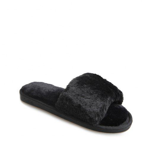 Chic 2017 Wool Flat Cotton Slippers - 36 BLACK Mobile