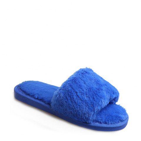 Online 2017 Wool Flat Cotton Slippers - 36 BLUE Mobile