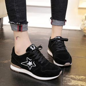 Star Pattern Solid Color Sport Shoes -