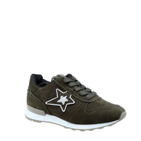 Chic Star Pattern Solid Color Sport Shoes - 39 GREEN Mobile