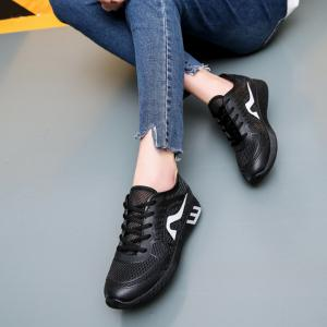 Hollow Out Color Block Casual Shoes - BLACK 39