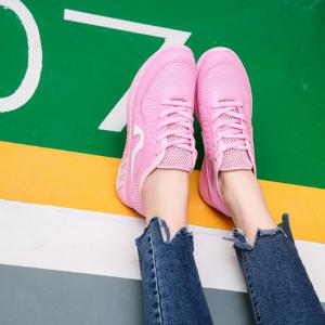Hollow Out Color Block Casual Shoes - PINK 38