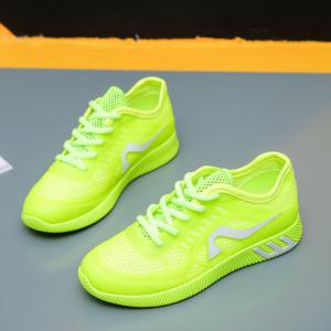 Hollow Out Color Block Casual Shoes - NEON GREEN 37