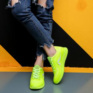 Hollow Out Color Block Casual Shoes - NEON GREEN 38