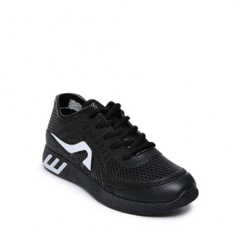 Latest Hollow Out Color Block Casual Shoes - 37 BLACK Mobile