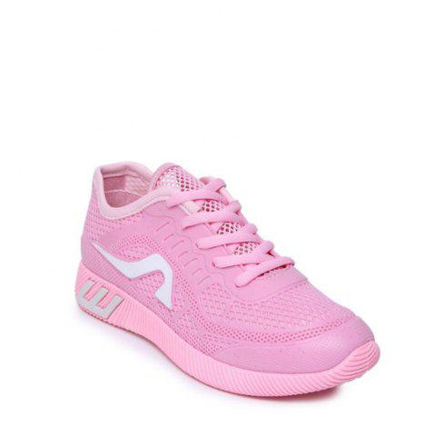 Discount Hollow Out Color Block Casual Shoes - 37 PINK Mobile