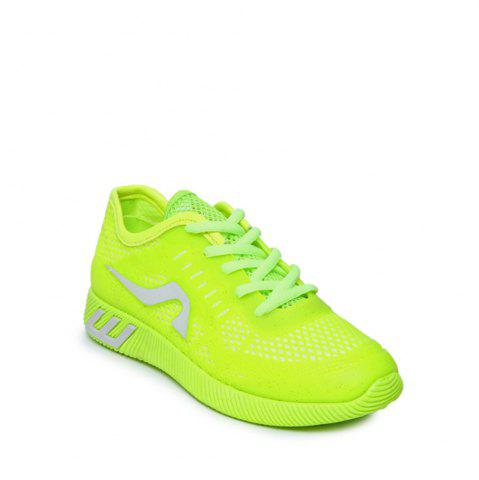 Buy Hollow Out Color Block Casual Shoes NEON GREEN 37