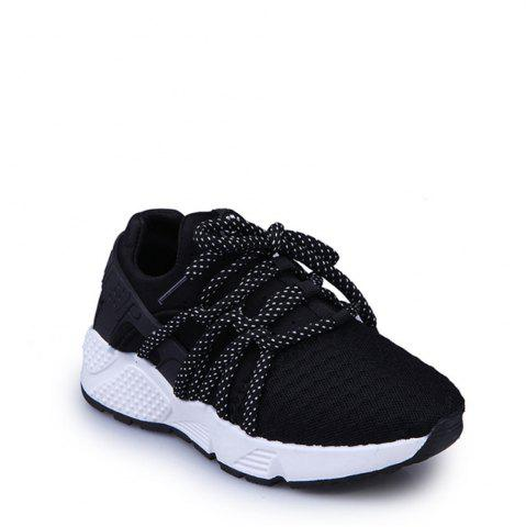 Cheap Breathable Solid Color Lace-Up Sport Shoes BLACK 39