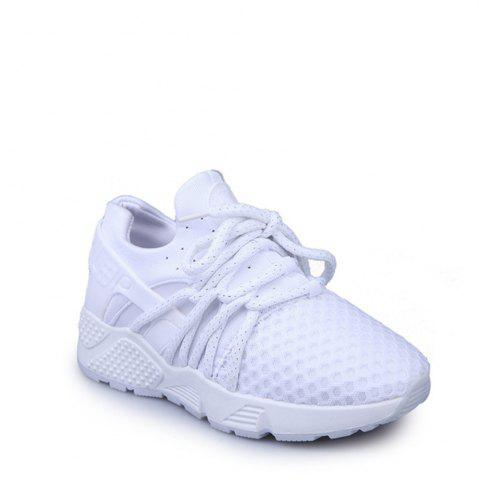 Online Breathable Solid Color Lace-Up Sport Shoes - 36 WHITE Mobile