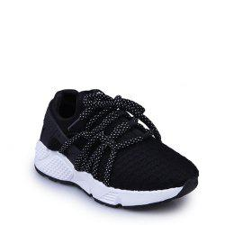 Breathable Solid Color Lace-Up Sport Shoes - BLACK 39