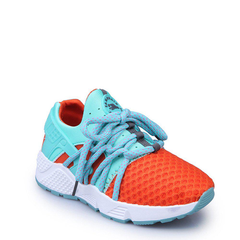 Online Breathable Solid Color Lace-Up Sport Shoes