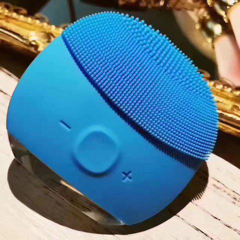 Trendy Silicone Gel Face Vibrating Massager Waterproof Charging Beauty Face Care Cleaner Cleaning Machine Facial Massagetools BLUE BONNET