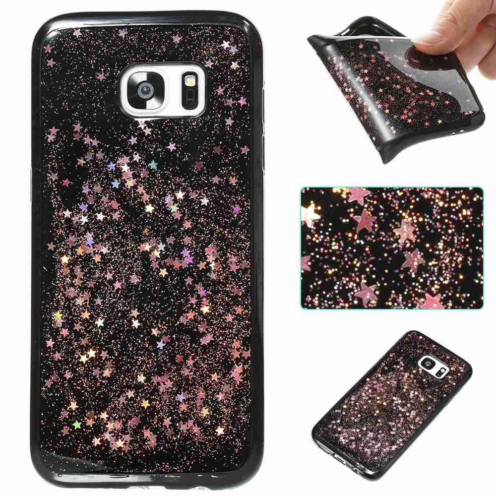 Cheap Black Five-Pointed Star Painted Tpu Phone Case for Samsung Galaxy S7 Edge