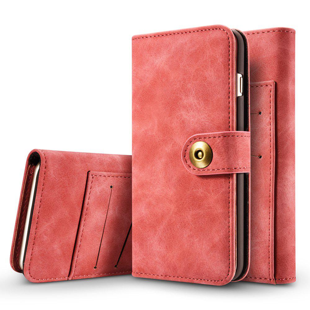 Online Wkae Retro Style Detachable Magnetic Leather Case Cover with Large Capity Card Cash Slots Secure Rivet Buckle for Iphone 7 / 8