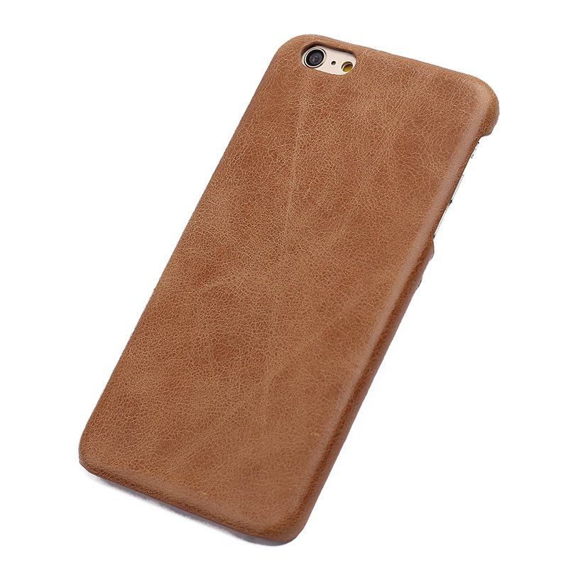 Outfits Retro Style Cow Leather Hard Back Case for iPhone 8