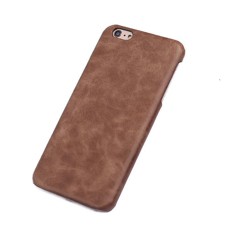 Store Retro Style Cow Leather Hard Back Case for iPhone 8