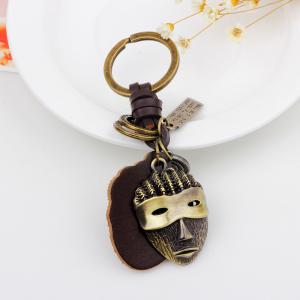 Hot Sale Punk Alloy Mask Pendant Keychain with Leather Piece -