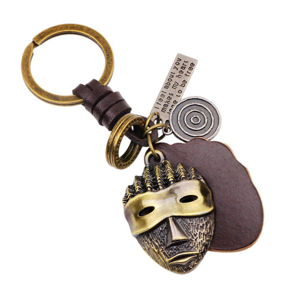 Hot Sale Punk Alloy Mask Pendant Keychain with Leather PieceJEWELRY<br><br>Color: BRONZED; Item No.: K0045; Material: Leather, Zinc Alloy;