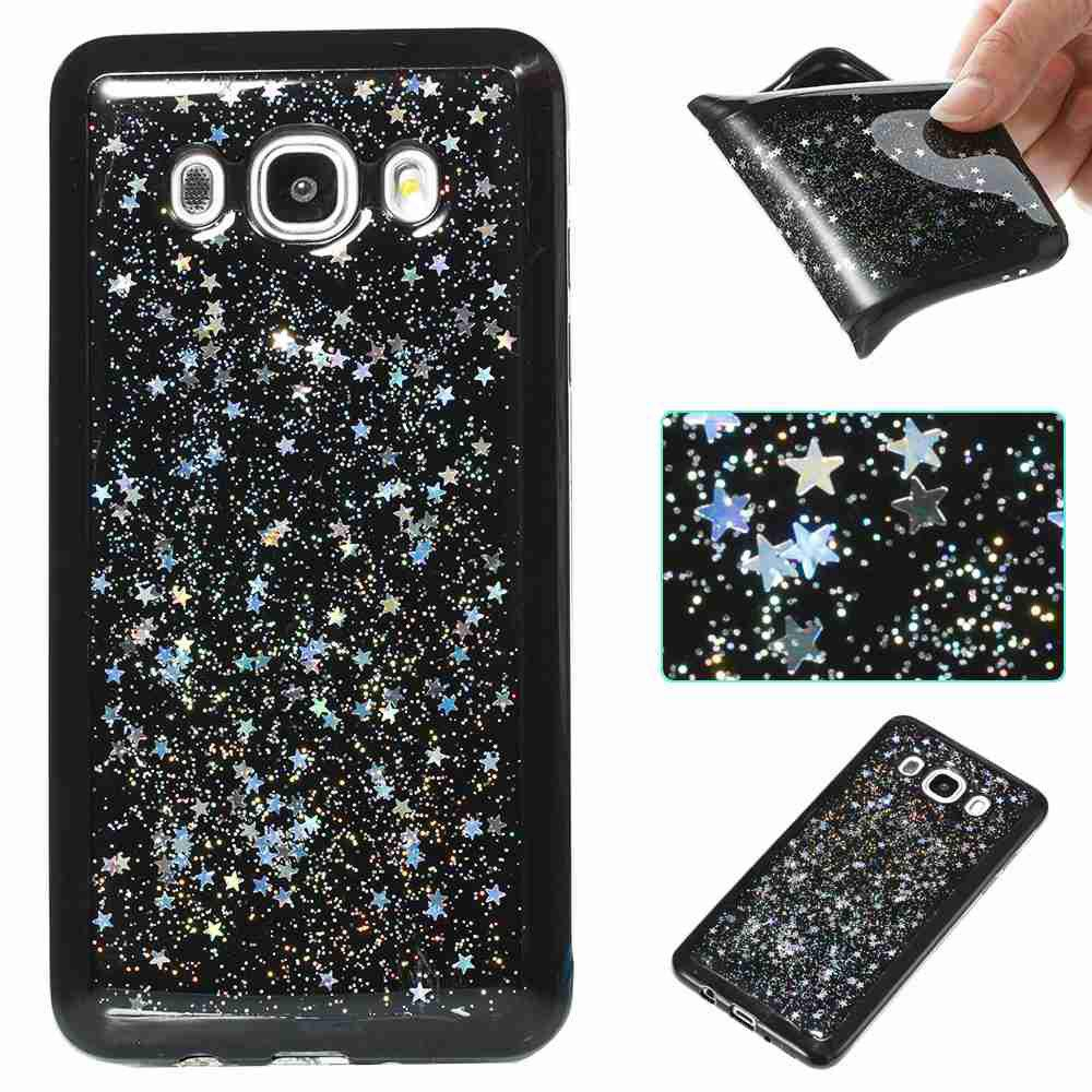 New Black Five-Pointed Star Painted Tpu Phone Case for Samsung Galaxy J510 / J5 2016