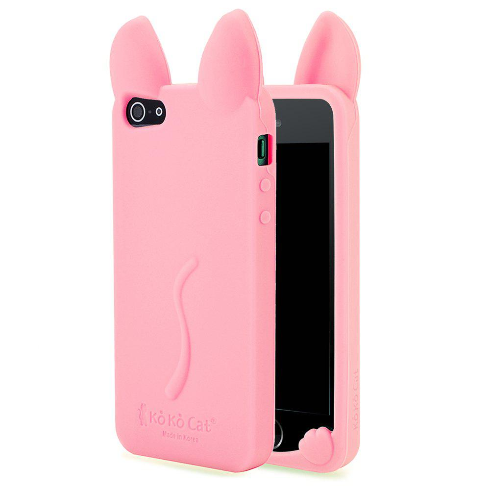 Fashion Cute 3D Cat Ears Soft Rubber Silicone Case Cover Skin for iPhone 5 / 5S / SeHOME<br><br>Color: PINK;