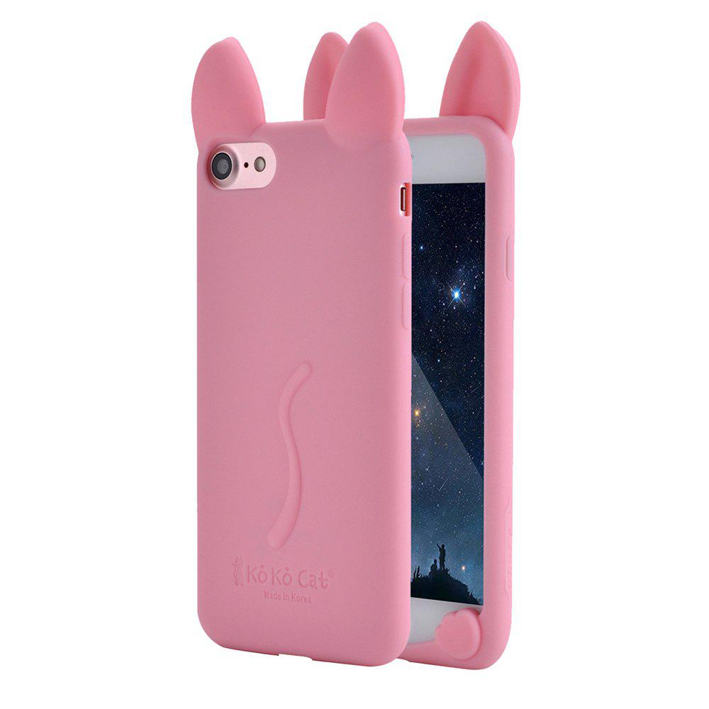 Online Fashion Cute 3D Cat Ears Soft Rubber Silicone Case Cover Skin for iPhone 6 Plus / 6S Plus