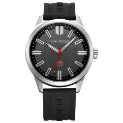 MINI FOCUS Mf0050G 4448 Luminous Needle Calendar Display Men Watch - BLACK + SILVER