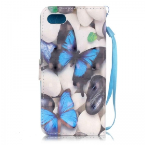 Blue Butterfly 3D Painted Pu Phone Case for Iphone 8 / 7 -