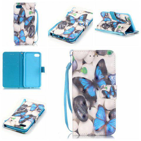 Buy Blue Butterfly 3D Painted Pu Phone Case for Iphone 8 / 7