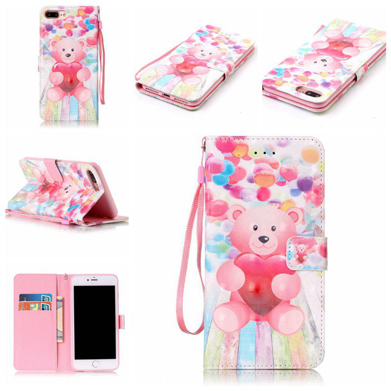 Fancy Balloon Bear 3D Painted Pu Phone Case for Iphone 8 Plus / 7 Plus