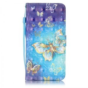 Golden Butterfly 3D Painted Pu Phone Case for Iphone 8 Plus / 7 Plus -